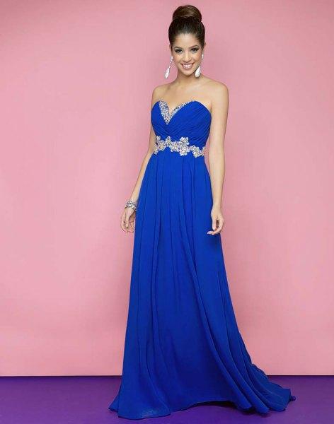 Kungsblå älskling axelbandslös passform och fläckad klänning
