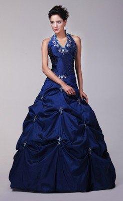 Halshållare mörkblå passform och golvlång klänning med utsvängd flare