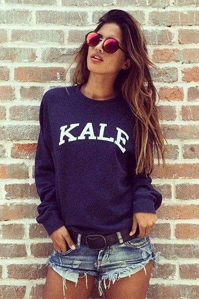 Marinblå sweatshirt denim mini shorts