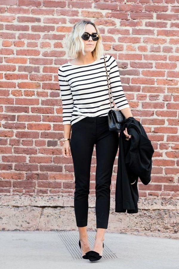 svarta randiga tröja capri jeans
