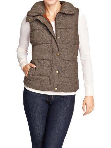 grå quiltad tweed väst vit skinny fit långärmad t-shirt