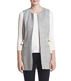vit trekvartärmad t-shirt grå långväst