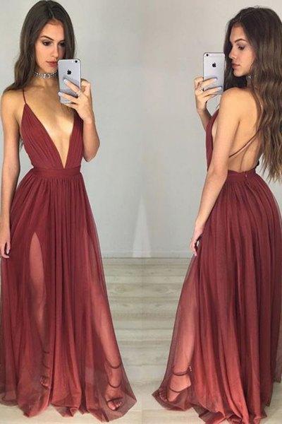 Vinröd djup urringning, rygglös golvlång veckad klänning