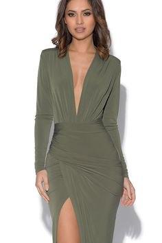 Olivgrön långärmad klänning med hög split
