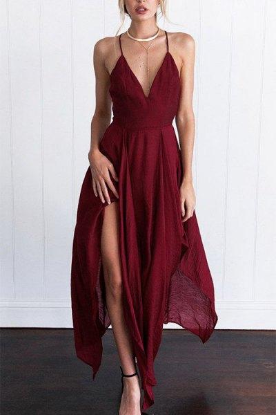 Burgundy Spaghetti Straps High Split Maxi Flared Dress