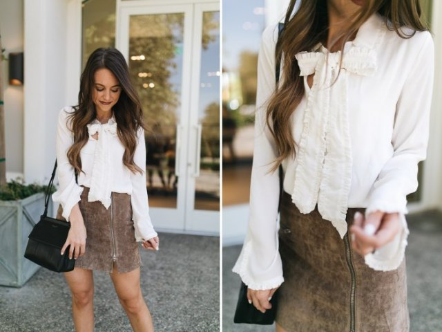 vit rosettblus grå matt läder kjol