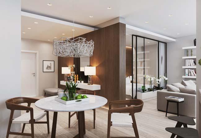Elegant inredning för liten lägenhet 57-tal