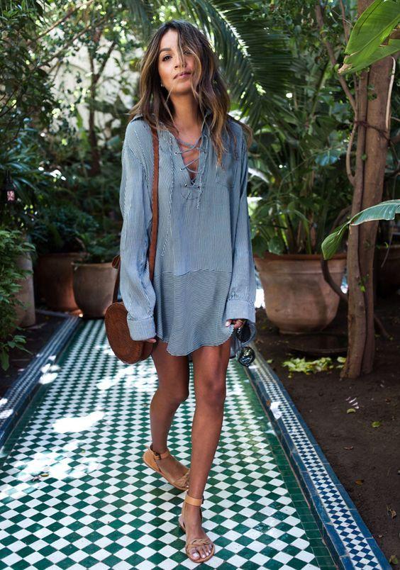 Slips bröstklänning casual blå