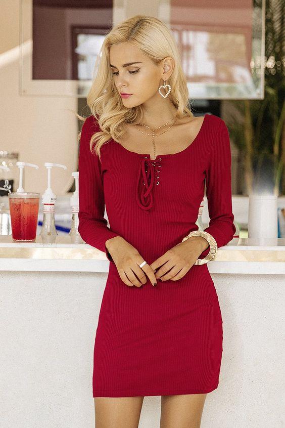 Slips bröstklänning elegant röd