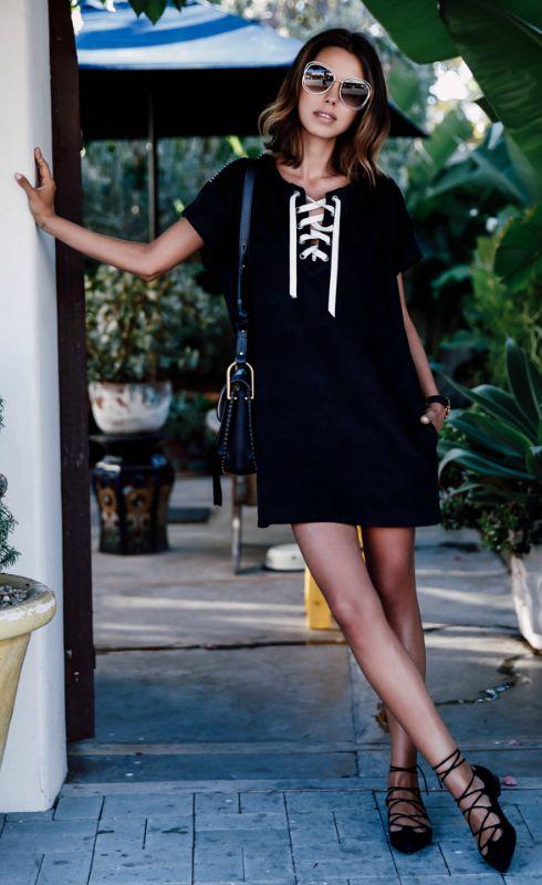 Slips bröstklänning casual svart