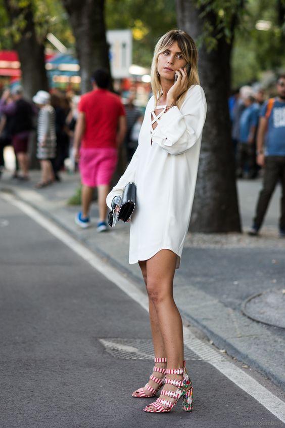 Slips bröstklänning avslappnad vit