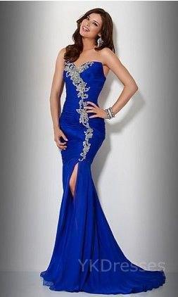 Kungsblå och silver älskling halsringning sjöjungfru klänning