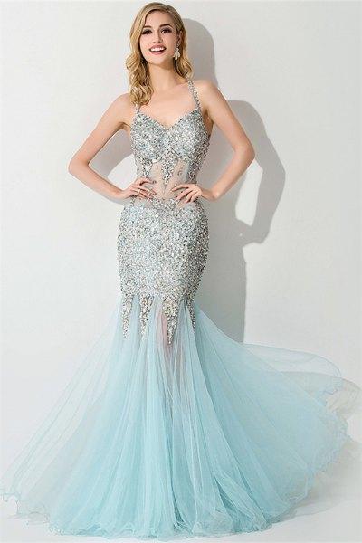 silver och ljusblå figur-kramar maxi fishtail klänning