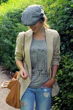 grå t-shirt ull platt keps