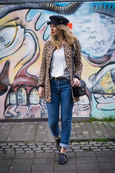 svart cheetah platt kappa jacka
