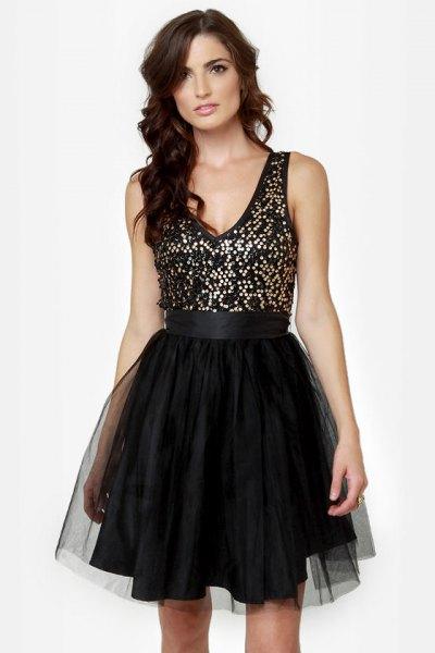 svart och silver paljett tyll klänning