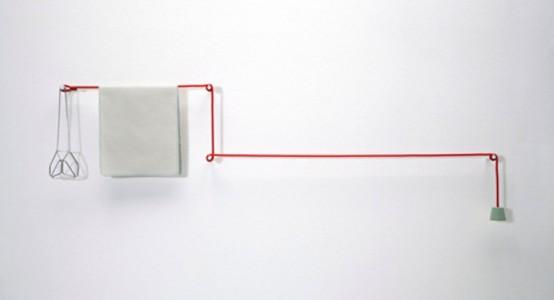 Minimalistisk handduksstång av rep och pinnar - DigsDi