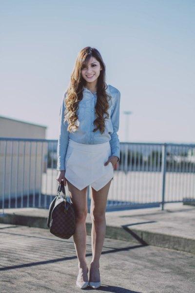 Jeansskjorta vita snortklackar