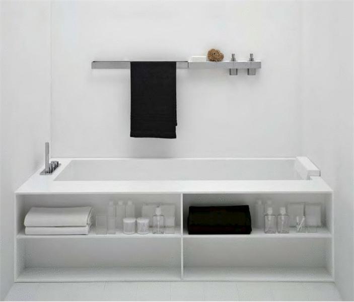 Minimalistiska badkar i White Corian - Biblio från Antonio Lupi.