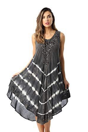 grå och vit chiffong maxi tank shift klänning