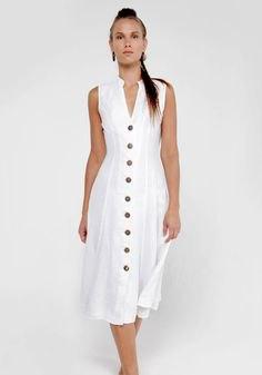 ärmlös midi-skiftklänning i linne med knappfickor