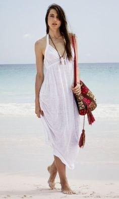 vit maxiklänning klänning fransficka