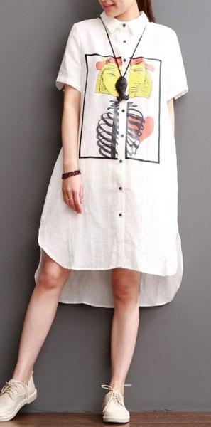 vit tryckt midi linne skjorta klänning