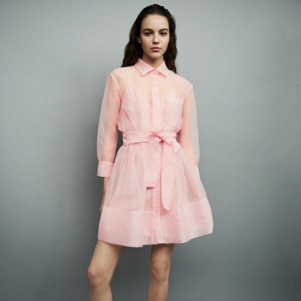 rodnad rosa chiffong halv genomskinlig mini flared skjorta klänning