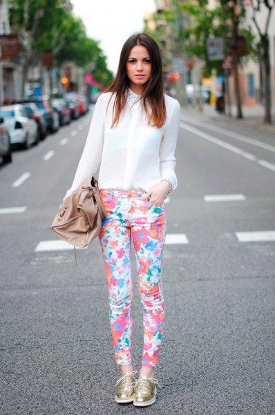 Chiffon Semi Sheer White Shirt Byxor med blommigt tryck