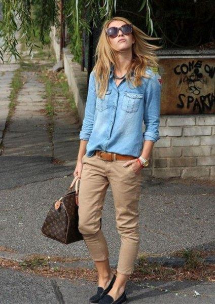 Jeansskjorta i beige chinos