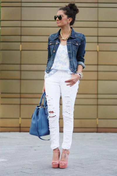 rippade jeans vit jeansjacka