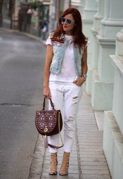 vit rippad jeans jeansväst