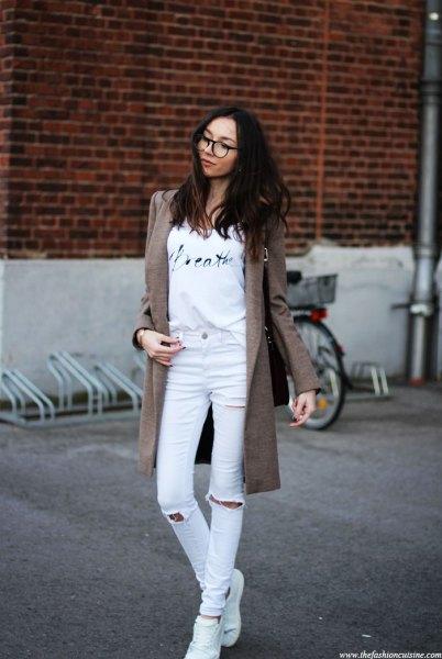 grå lång ullrock outfit