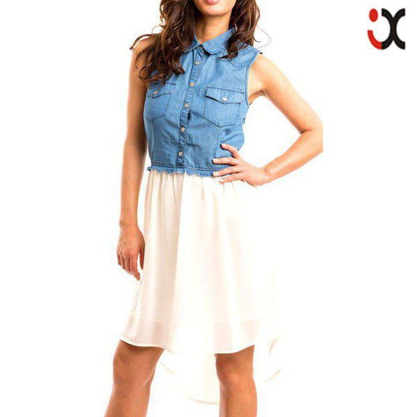 Chambray ärmlös skjorta vit chiffong hög låg flared mini kjol