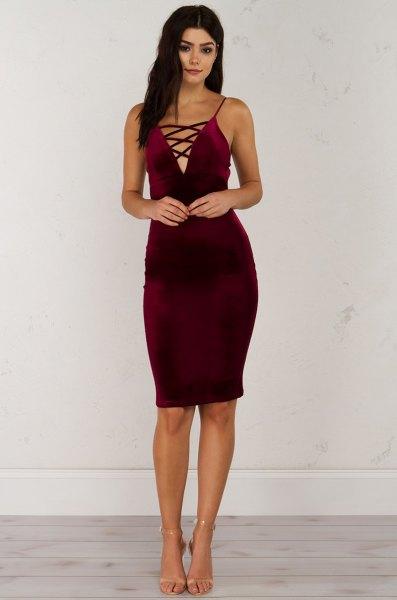Burgundy Velvet Criss Cross Body Shift Dress