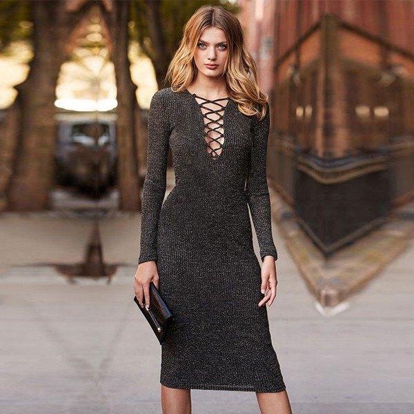grå, figur-kramande midi tröja klänning