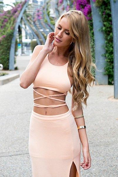 tvådelad klänning grädde topp blyerts kjol