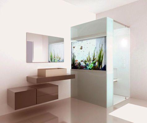 Plano Acquario Dusch av Cesena Dusch med inbyggt akvarium.