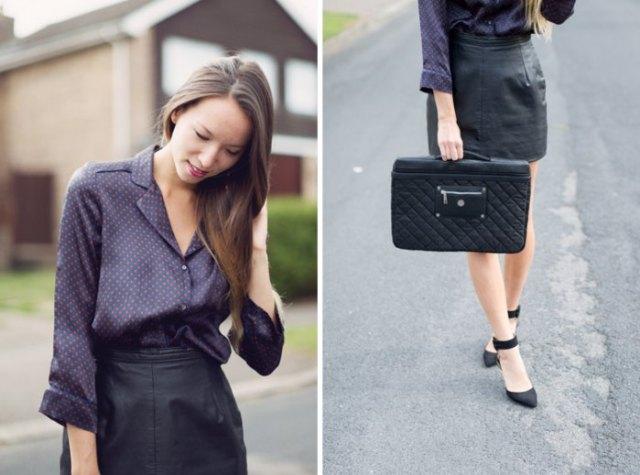 svart polka dot silke skjorta läder kjol