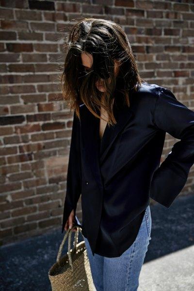 Marinblå silke skjorta jeans