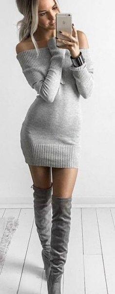 grå stickad tröja klänning knä höga stövlar