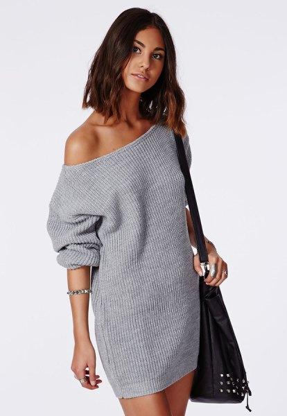 grå axelbandslös stickad tröja klänning
