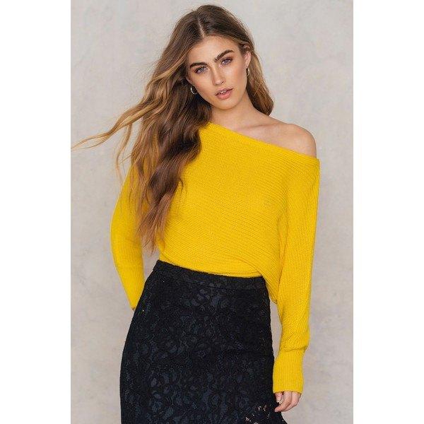 Citrongul från axelstickad tröja spets kjol