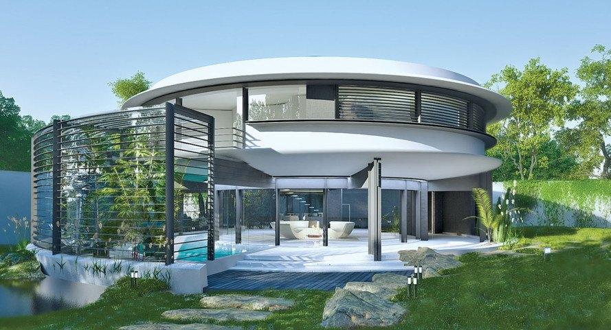 Marin blötdjurinspirerad Circle House är översvämmad med naturlig lig