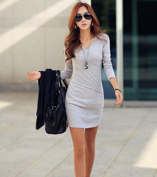 grå, långärmad mini wrap klänning