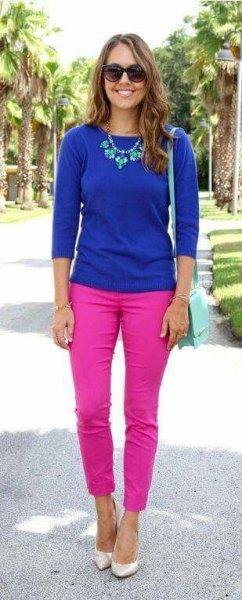 Kungsblå trefjärdedeltröja med rosa slim fit jeans