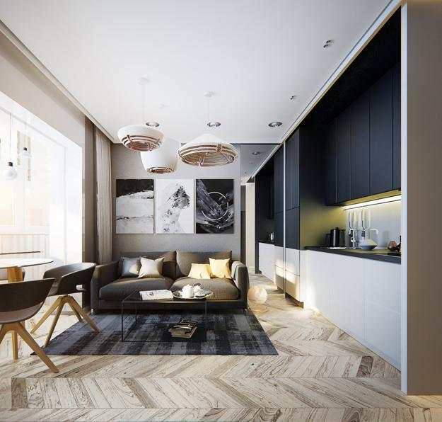 Moderna lägenhetsidéer, enpersons studiodesign med ljusa.