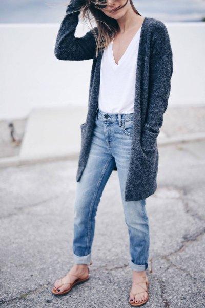 vit väst topp manschetter pojkvän jeans