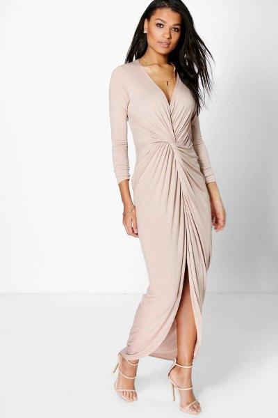 rodnad rosa volang maxi klänning