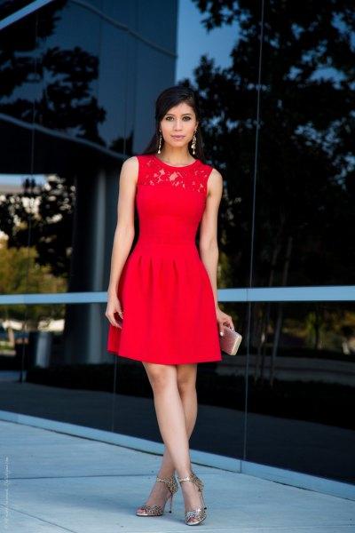 röd skater cocktail klänning spets krage